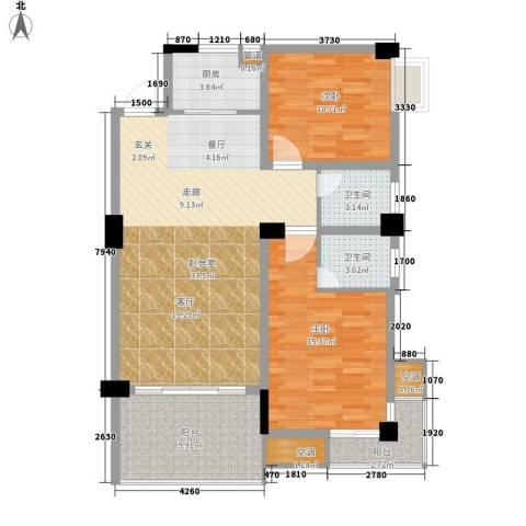 浏阳河畔2室0厅2卫1厨99.00㎡户型图