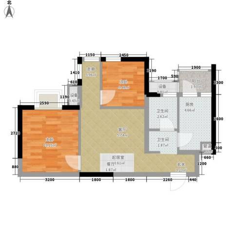 美洲花园E区2期2室0厅1卫1厨62.00㎡户型图