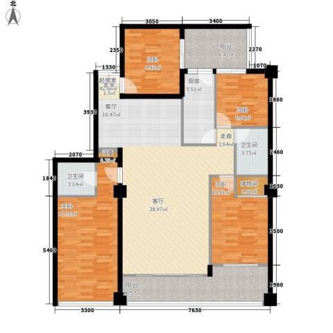 东河国际商住城4室0厅2卫1厨166.00㎡户型图