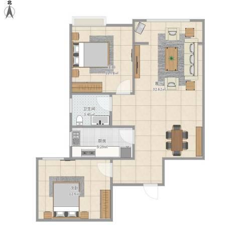 冠捷・观邸2室1厅1卫1厨88.00㎡户型图