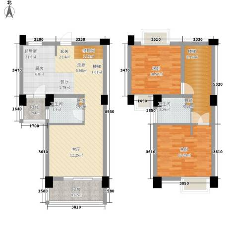 天雨一号2室0厅2卫0厨89.00㎡户型图
