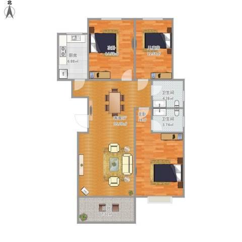 汶上如意花园3室1厅2卫1厨136.00㎡户型图