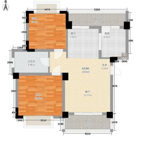 天雨一号2室0厅1卫1厨84.00㎡户型图