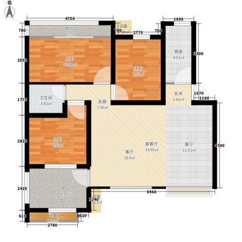 工农大厦3室1厅1卫1厨93.00㎡户型图