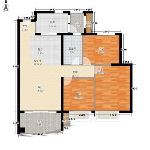 依云小镇福水园3室1厅1卫1厨115.00㎡户型图