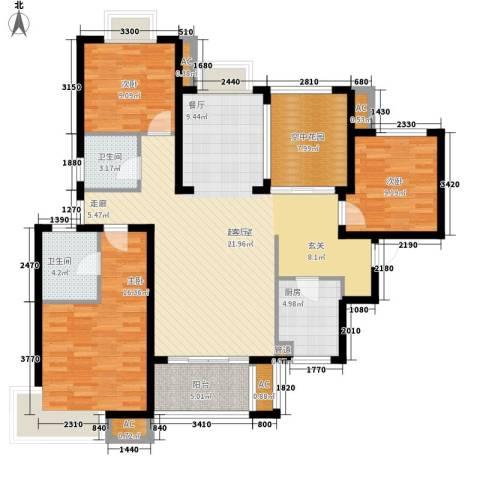 新华联广场3室0厅2卫1厨137.00㎡户型图