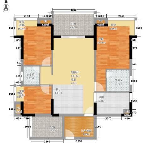 金凯盛誉城3室1厅2卫1厨121.00㎡户型图