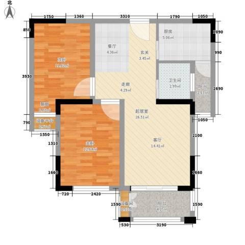 平湖观邸2室0厅1卫1厨77.00㎡户型图