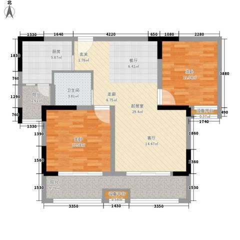 平湖观邸2室0厅1卫1厨88.00㎡户型图