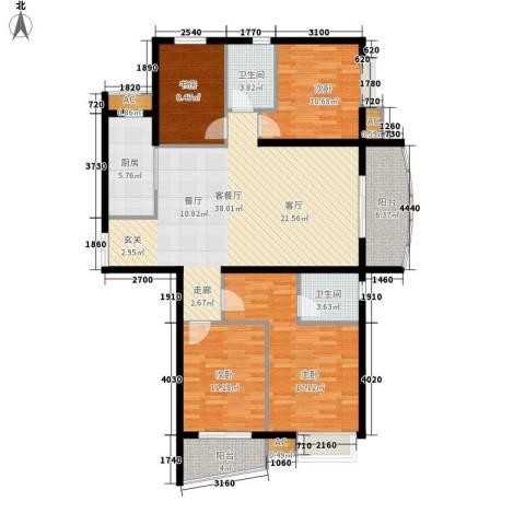 咏春花苑4室1厅2卫1厨128.00㎡户型图