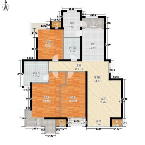 天亚水景城3室1厅2卫1厨146.00㎡户型图