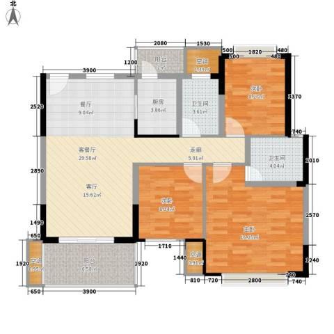 泰康楼3室1厅2卫1厨122.00㎡户型图