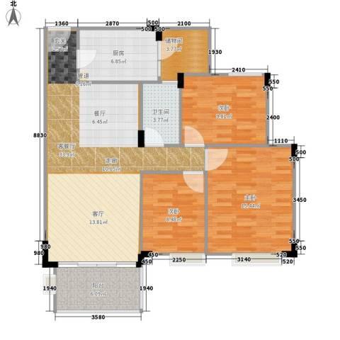 新世界花园3室1厅1卫1厨97.00㎡户型图