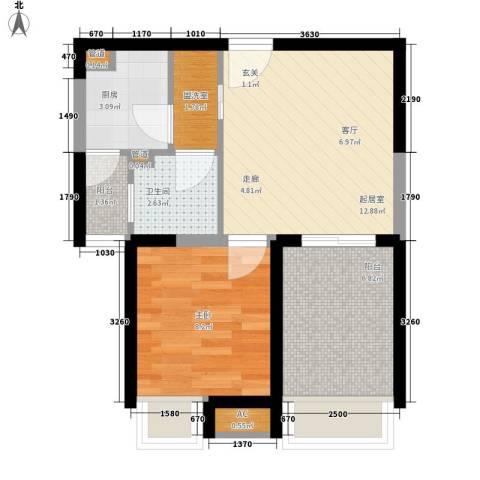 新里魏玛公馆1室0厅1卫1厨52.00㎡户型图