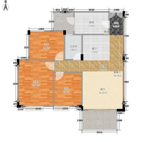新世界花园3室1厅1卫1厨95.00㎡户型图