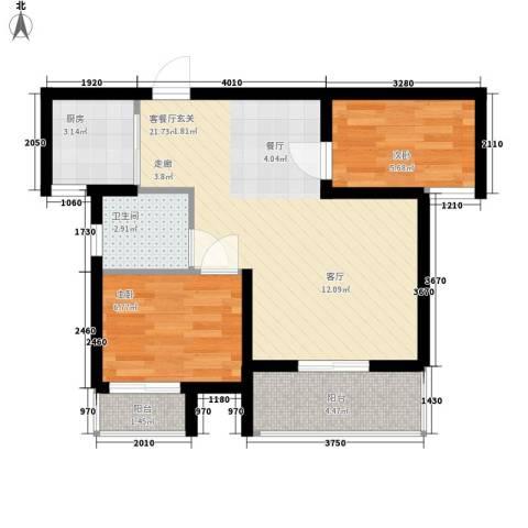 兰汀朝阳2室1厅1卫1厨91.00㎡户型图