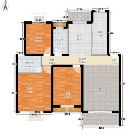 御景庄园3室0厅2卫1厨119.00㎡户型图