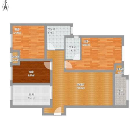 中海御景湾3室1厅2卫1厨126.00㎡户型图