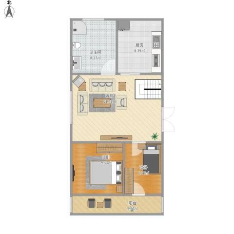 住友家园别墅2室1厅1卫1厨81.00㎡户型图