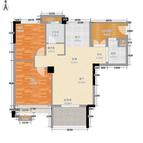 森林公园壹号2室0厅1卫1厨91.00㎡户型图