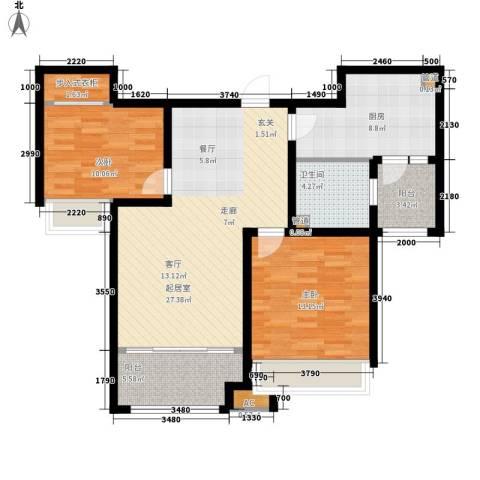 泉景天沅和园雅园2室0厅1卫1厨87.00㎡户型图