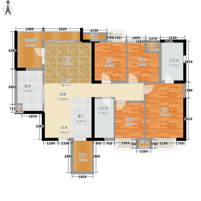 伟晖东方芙蓉143.70㎡一期4号栋34层朝北A1户型