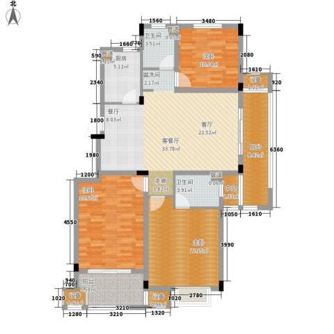 明月湾3室1厅2卫1厨125.00㎡户型图