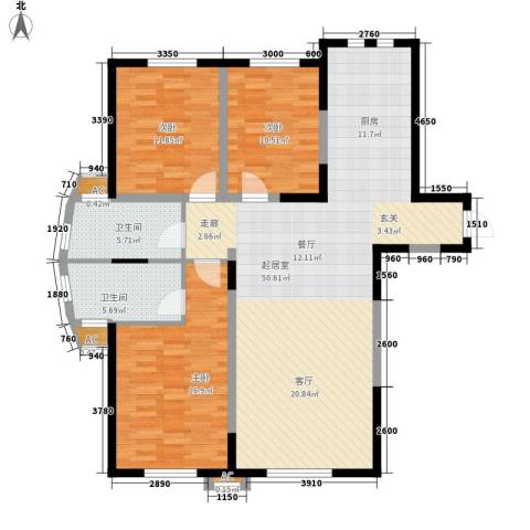 华侨御景湾3室0厅2卫0厨150.00㎡户型图