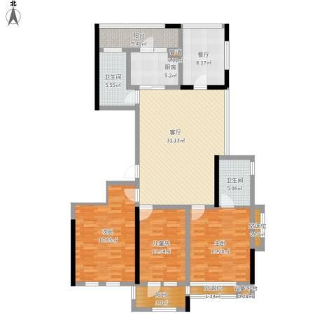 城泰湖韵天成3室2厅2卫1厨163.00㎡户型图