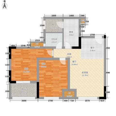 龙城国际2室0厅1卫1厨66.00㎡户型图