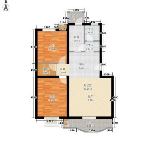 优座华城2室0厅1卫1厨109.00㎡户型图