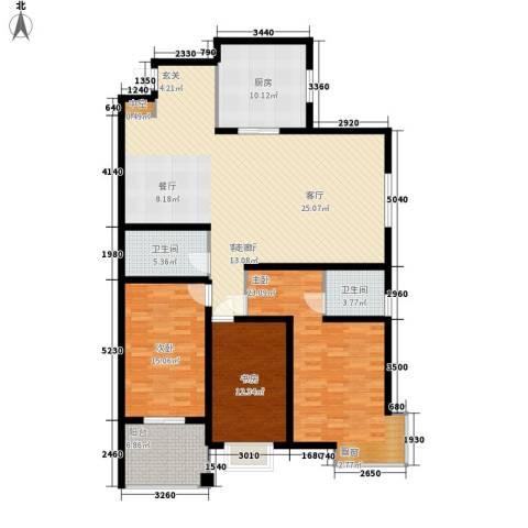 凯润花园3室1厅2卫1厨144.00㎡户型图