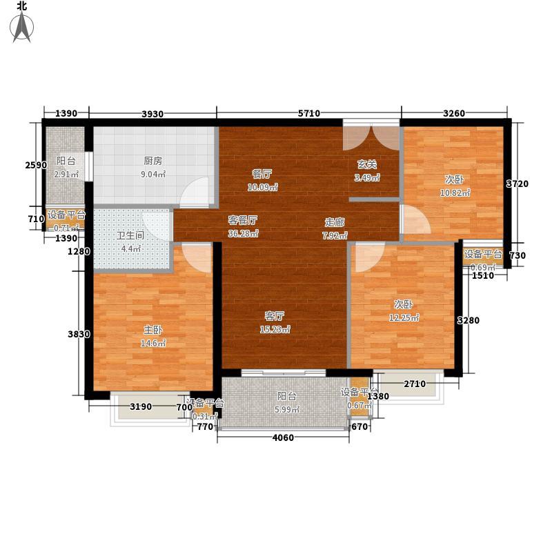 中建大观天下110.23㎡B10户型 三室两厅一卫户型3室2厅1卫