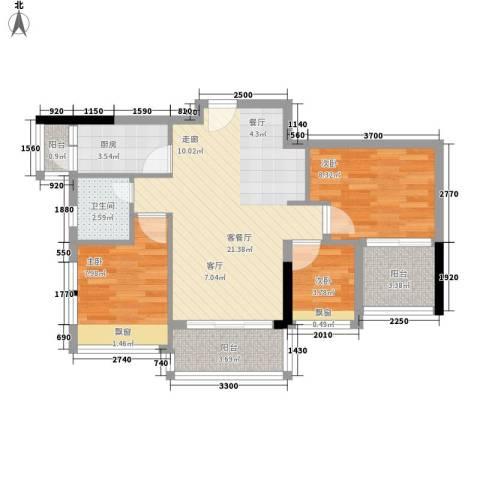 时尚明苑3室1厅1卫1厨86.00㎡户型图
