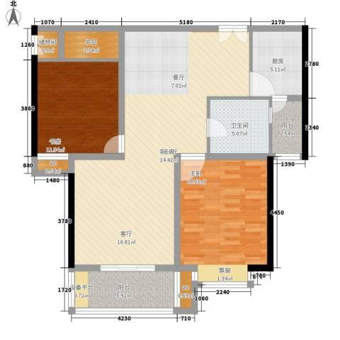 居礼2室1厅1卫1厨102.00㎡户型图