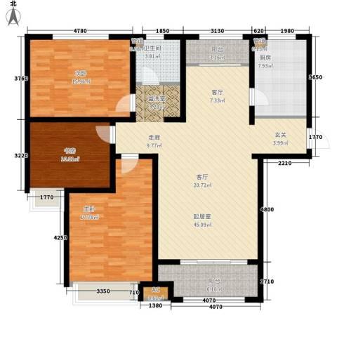 泉景天沅和园雅园3室0厅1卫1厨127.00㎡户型图