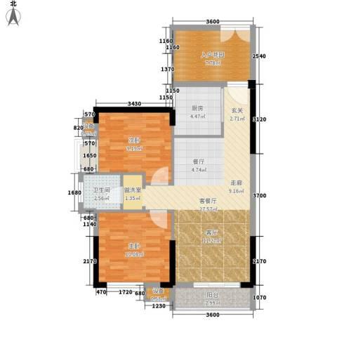 城南时代2室1厅1卫1厨88.00㎡户型图