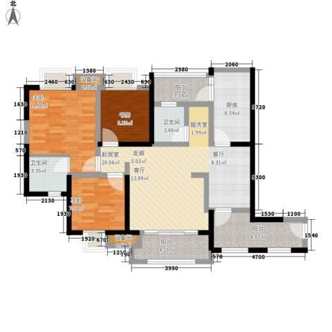 神州南都3室0厅2卫1厨111.00㎡户型图