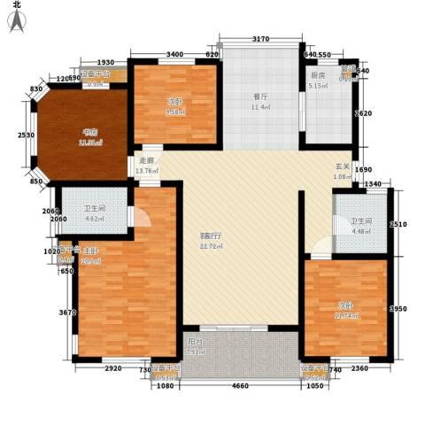 亚厦风和苑4室1厅2卫1厨142.00㎡户型图