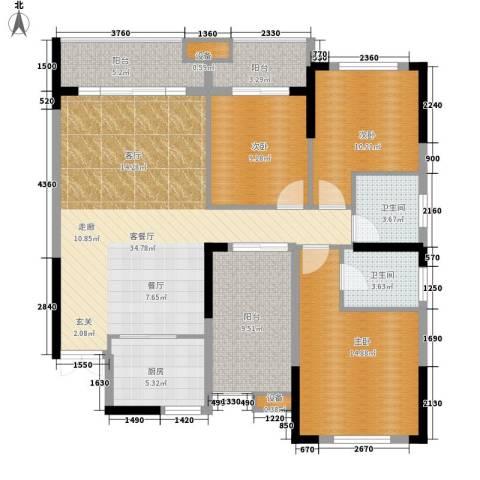 城南时代3室1厅2卫1厨123.00㎡户型图