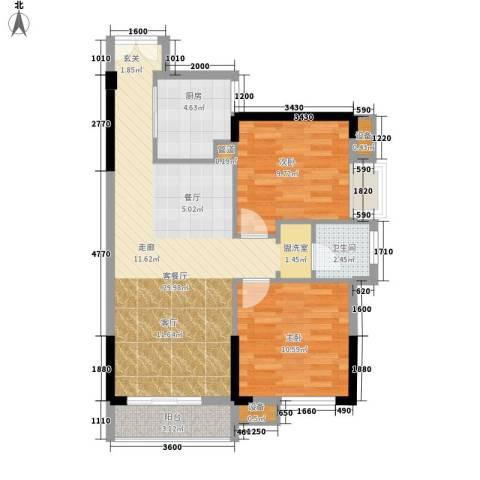 城南时代2室1厅1卫1厨84.00㎡户型图
