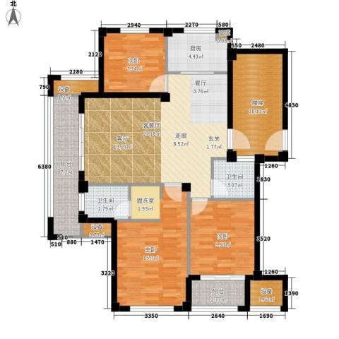 天一名都3室1厅2卫1厨136.00㎡户型图