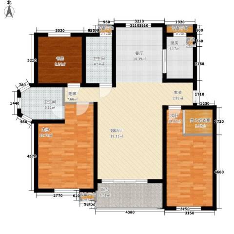 亚厦风和苑3室1厅2卫1厨134.00㎡户型图