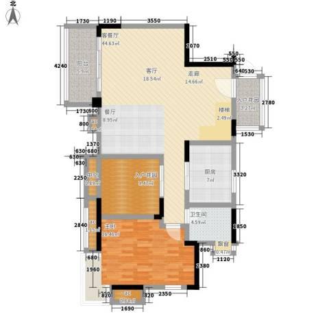 中铁山水天下1室1厅1卫1厨125.00㎡户型图