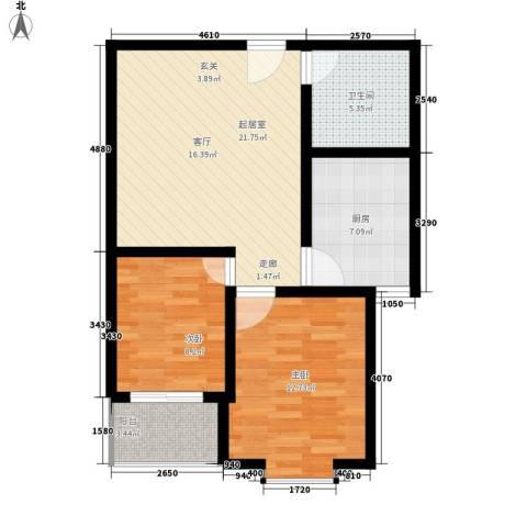 中和盛景2室0厅1卫1厨67.00㎡户型图