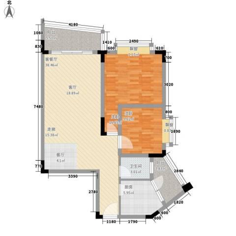 银海峰景2室1厅1卫1厨83.42㎡户型图
