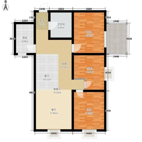 中登家园3室1厅1卫1厨124.00㎡户型图