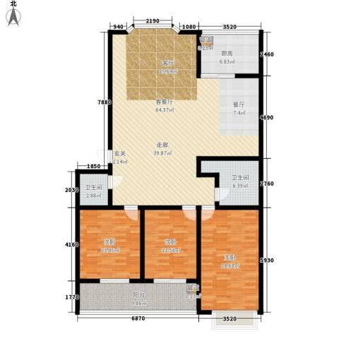 红园小区3室1厅2卫1厨153.00㎡户型图