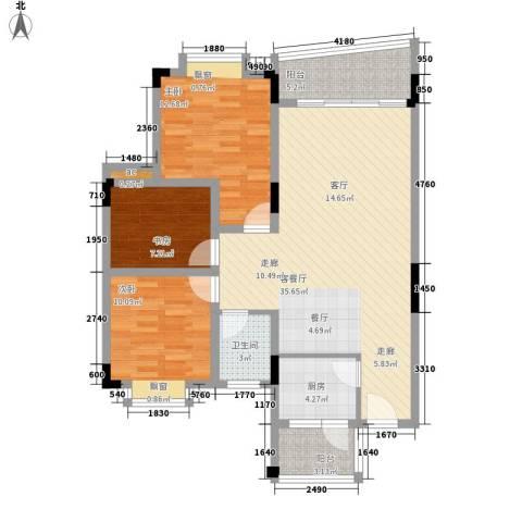 银海峰景3室1厅1卫1厨88.00㎡户型图