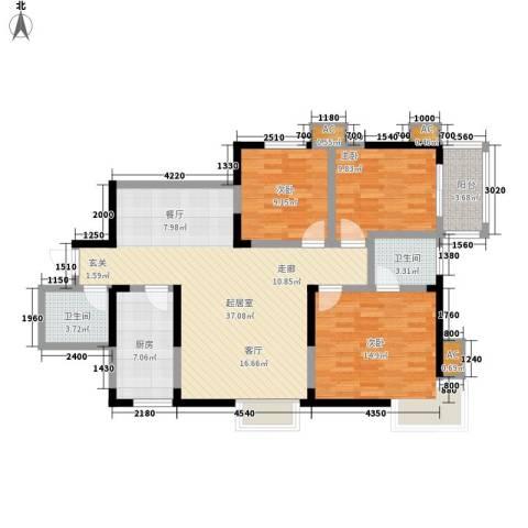曲江春晓苑3室0厅2卫1厨120.00㎡户型图